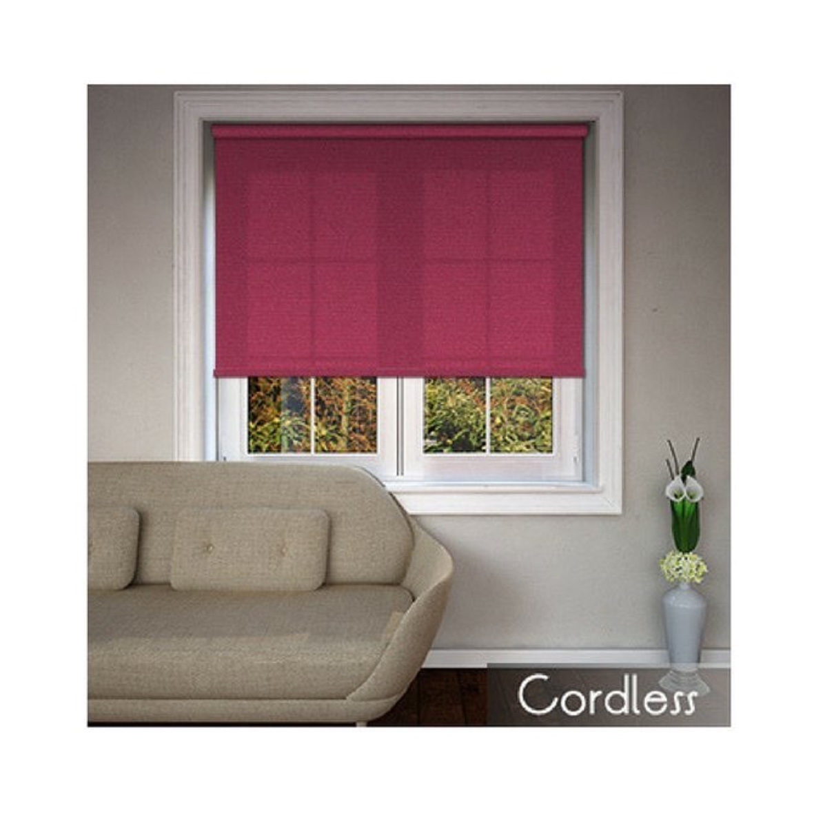A picture of a bright pink cordless window blind