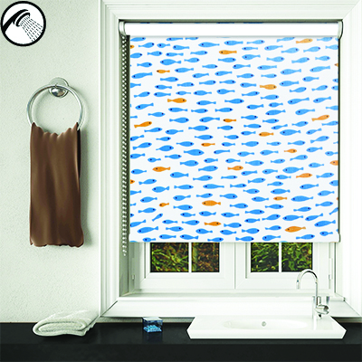 An image showing waterproof bathroom blinds with a blue and orange goldfish pattern