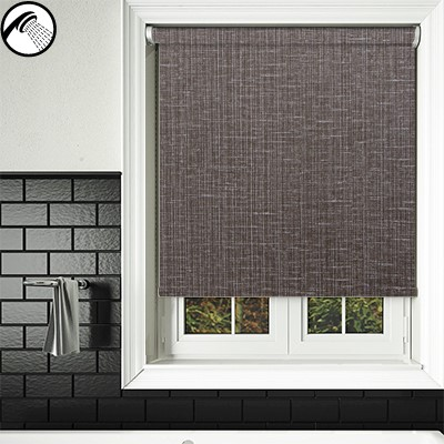 Crosshatch black waterproof bathroom blind