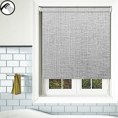 Crosshatch Grey Waterproof Bathroom Roller Blind