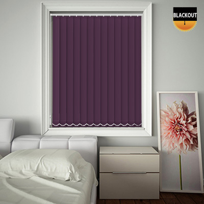 An image showing plum coloured vertical bedroom blinds