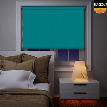 An image showing teal bedroom blinds in blackout material