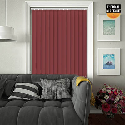 An image showing wine red vertical bedroom blinds in a living room setting