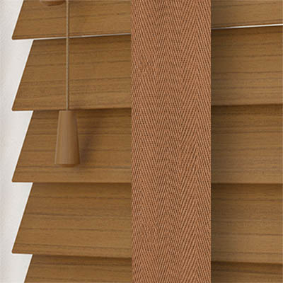 Amber Oak Faux Wood with Toffee Tape Wooden Venetian Blind Close Up