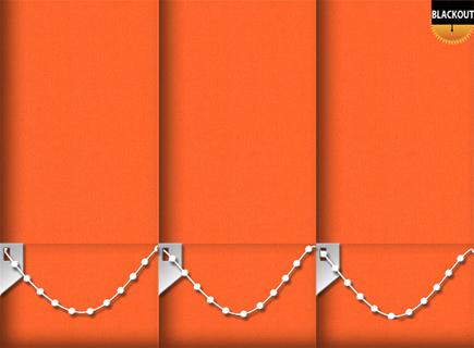 Made to Measure Blackout Vertical Blinds Bedtime Bright Orange 3 Slats