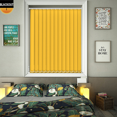 Made to Measure Bedtime Bright Yellow Blackout Replacement Vertical Blind Slats