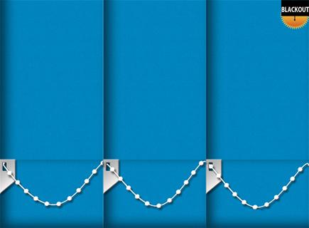 Made to Measure Blackout Vertical Blinds Bedtime Sea Blue 3 Slats