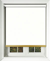 Bedtime White Blackout Roller Blinds With Gold Bottom Bar Closeup