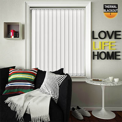 Made to Measure Thermal Replacement Vertical Blind Slats Blackout Thermic Optic White Main
