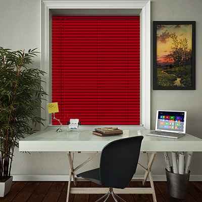 Venetian Blinds Bright Red Gloss Closed