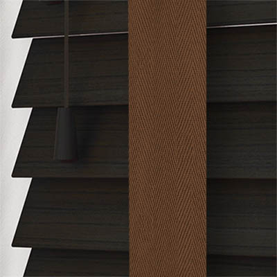 Callo Faux Wood with Coffee Tape Wooden Venetian Blind Close Up
