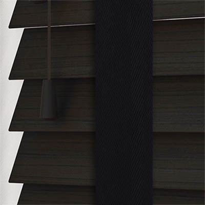 Callo Faux Wood with Jet Tape Wooden Venetian Blind Close Up