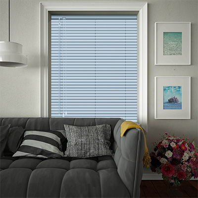 Venetian Blinds Cool Blue Stripe Closed