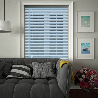 Venetian Blinds Cool Blue Stripe Opened