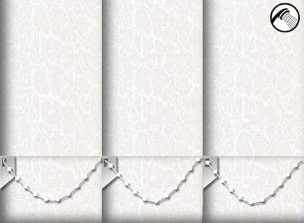 Made to Measure Waterproof Vertical Blinds Crackles White 3 Slats