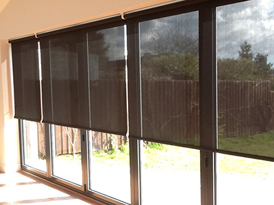 Made to Measure Spring Loaded Screen Cordless Roller Blinds Cordless Black Sun Screen Rollers
