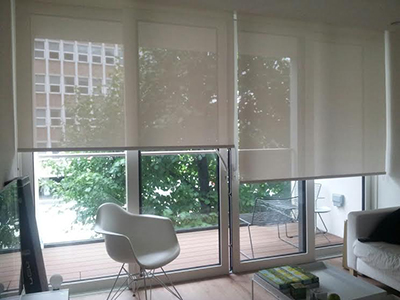 Made to Measure Spring Loaded Screen Cordless Roller Blinds Cream Screen Roller Blinds