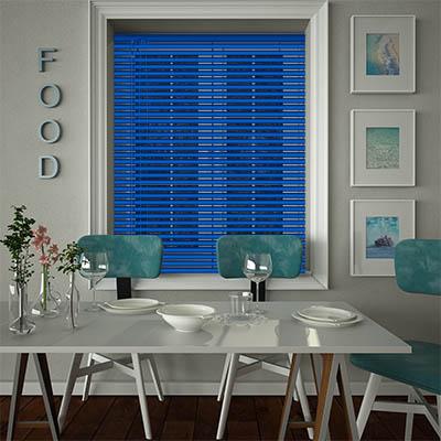 Venetian Blinds Deep Blue Opened