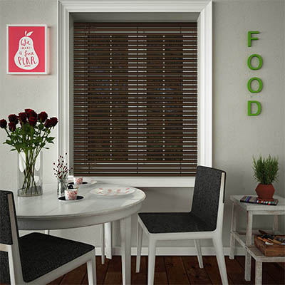 Venetian Blinds Deep Brown Opened