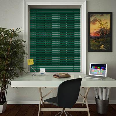 Venetian Blinds Deep Emerald Opened