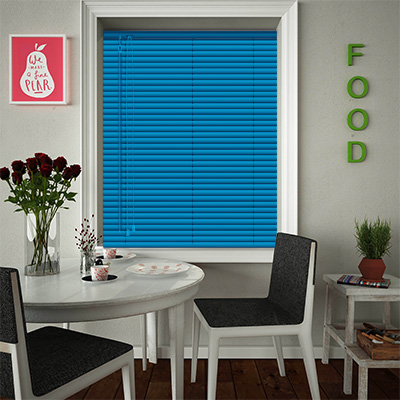 Venetian Blinds Electric Blue Closed