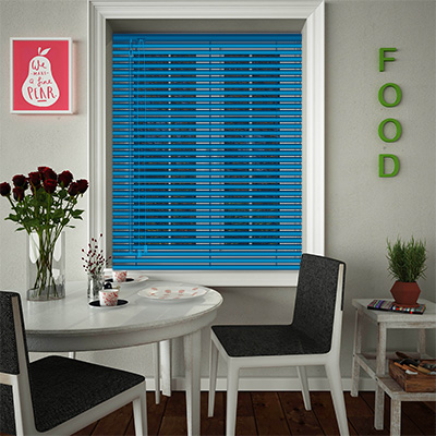 Venetian Blinds Electric Blue Opened