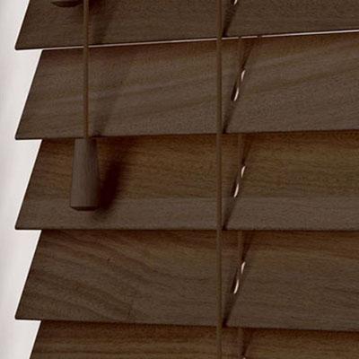 Fired Walnut  Wooden Venetian Blind Close Up