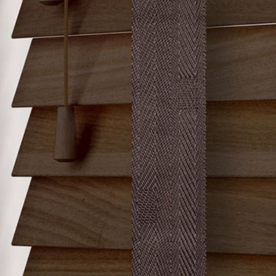 Fired Walnut with Coffee Tape Wooden Venetian Blind Close Up