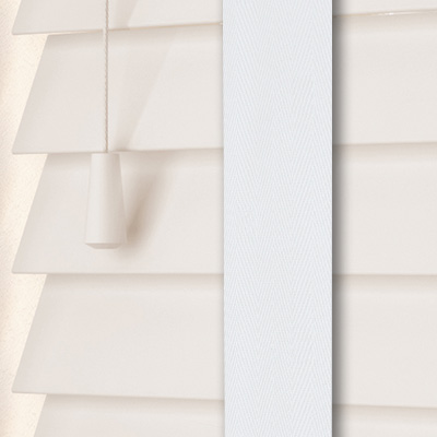 Glacier White with Arctic Tape  Wooden Venetian Blind Close Up