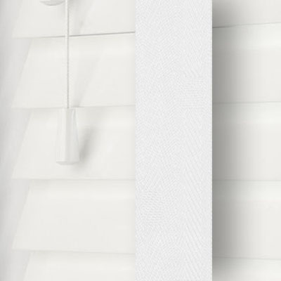 Gloss Pure White with Cotton Tape  Wooden Venetian Blind Close Up