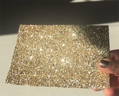 Gold Glitter Roller Blind Close Up 1