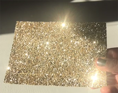 Gold Glitter Roller Blind Close Up 2