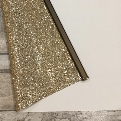 Gold Glitter Roller Blind Close Up Back