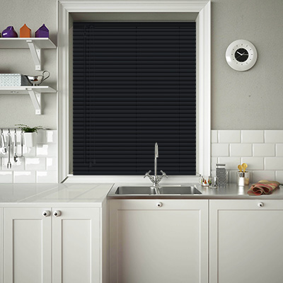 Venetian Blinds Hammered Black Closed