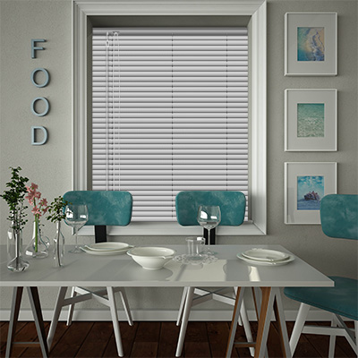 Venetian Blinds Hammered Silver Closed