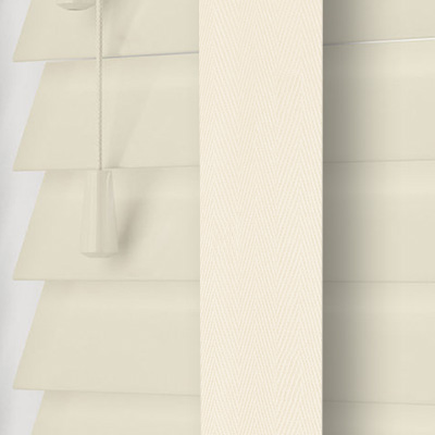 Highshine Ivory Faux Wood with Ivory Tape  Wooden Venetian Blind Close Up