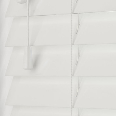 Highshine White Faux Wood  Wooden Venetian Blind Close Up