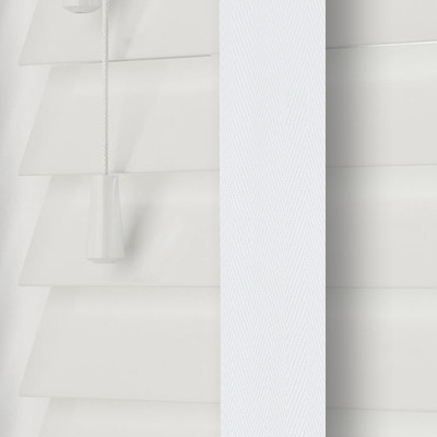 Highshine White Faux Wood with White Tape  Wooden Venetian Blind Close Up