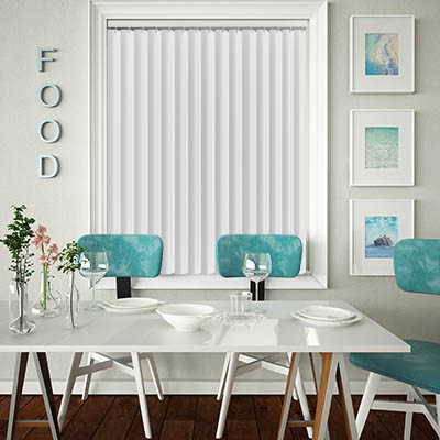 Made to Measure Rigid PVC Waterproof Replacement Vertical Blind Slats Jeren Chalk White Lifestyle