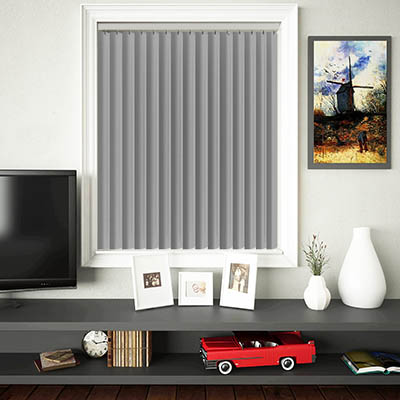 Made to Measure Rigid PVC Waterproof Replacement Vertical Blind Slats Jeren Grey Lifestyle