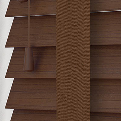 Lima Faux Wood with Coffee Tape Wooden Venetian Blind Close Up