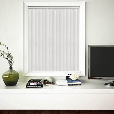 Made to Measure Rigid PVC Waterproof Replacement Vertical Blind Slats Linum Brilliant White Lifestyle
