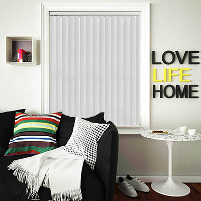 Made to Measure Rigid PVC Waterproof Replacement Vertical Blind Slats Linum Chalk White Lifestyle