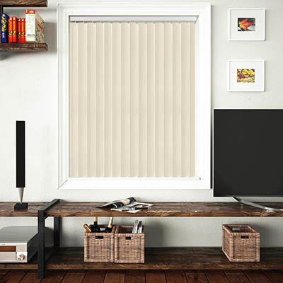 Made to Measure Rigid PVC Waterproof Replacement Vertical Blind Slats Linum Cream Lifestyle