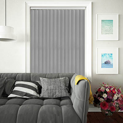 Made to Measure Rigid PVC Waterproof Replacement Vertical Blind Slats Linum Grey Lifestyle