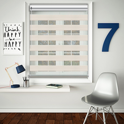 Lula Chalk Made to Measure Day and Night Roller Blinds - Open Image