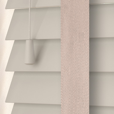 Mallow with Vapour Tape Wooden Venetian Blind Close Up