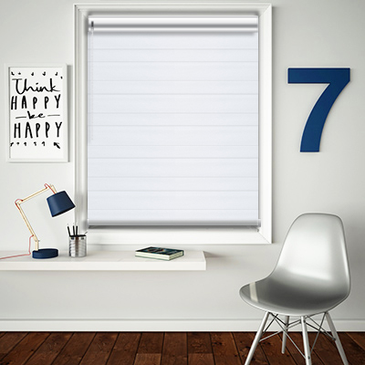Mason White Made to Measure Day and Night Roller Blinds - Closed Image
