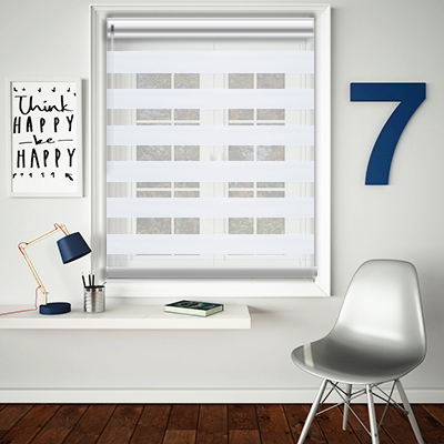 Mason White Made to Measure Day and Night Roller Blinds - Open Image