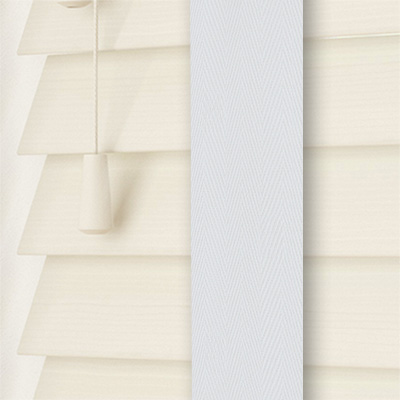 Mirage Wood Grain Faux Wood with Chalk Tape Wooden Venetian Blind Close Up